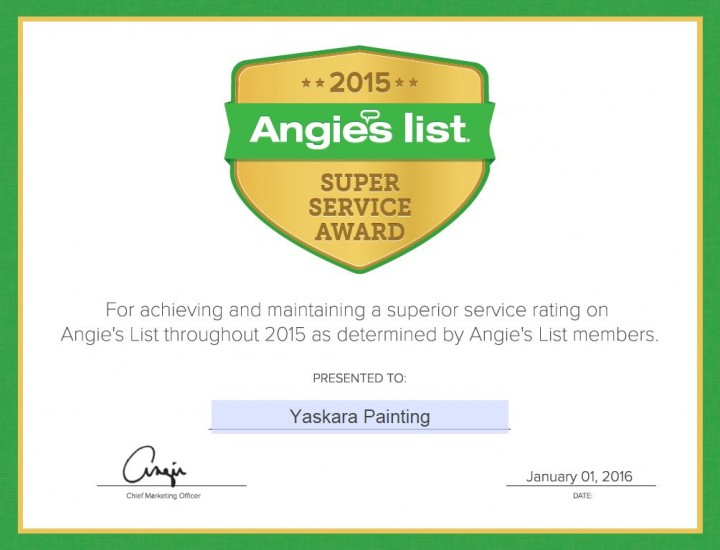 Angie's List Award to Yaskara Painting LLC